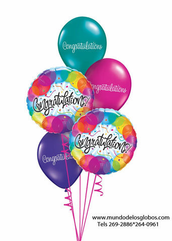 Bouquet Congratulations con Globos de Colores