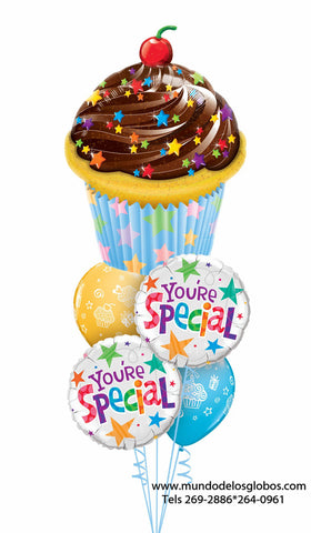 Bouquet You Are Special con Cupcake Gigante y Globos de Colores
