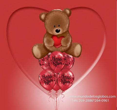 Bouquet con Globo de Oso Chocolate, Hugs & Kisses