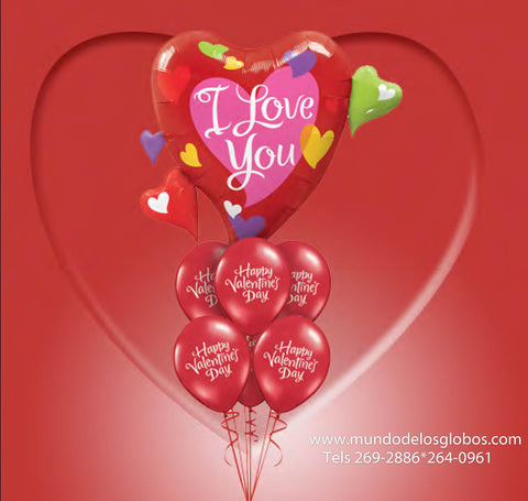 Bouquet con Globo de Corazon Gigante I Love You, Happy Valentine's Day