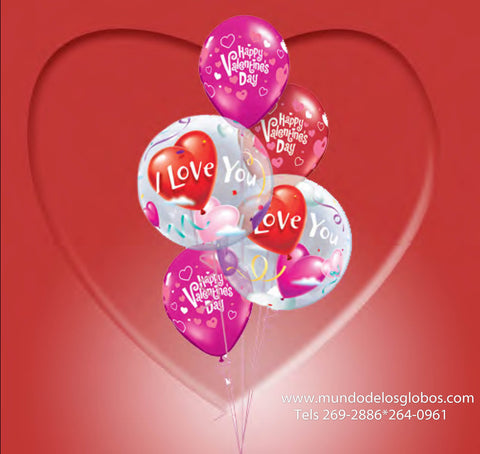 Bouquet I Love You de Burbujas, Happy Valentine's Day de Corazoncitos