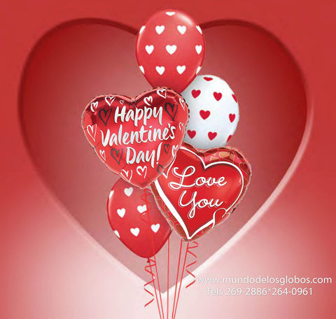 Bouquet de Happy Valentine´s Day con Corazon de I Love You y Corazones