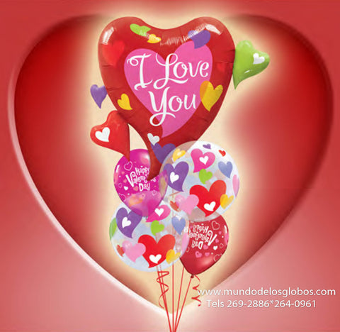 Bouquet de Corazon Gigante I Love You con Burbujas de Corazones de Colores, Happy Valentine's Day