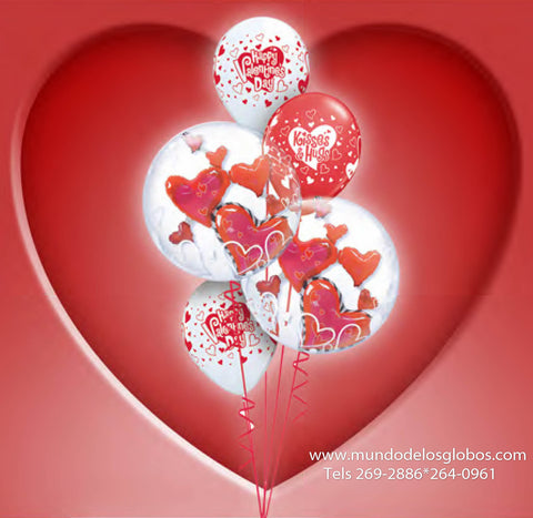 Bouquet de Burbujas con Corazones, Kisses & Huggs, Happy Valentine's Day