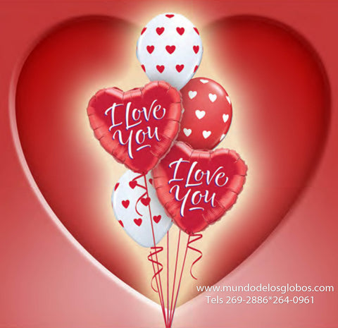 Bouquet de Corazones I Love You con Corazoncitos Rojos y Blancos