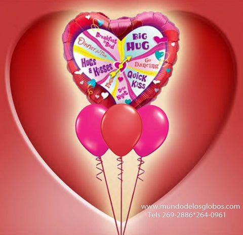 Bouquet de Corazon Gigante Big Hug, Quick Kiss con Hugs & Kisses, Happy Valentine's Day