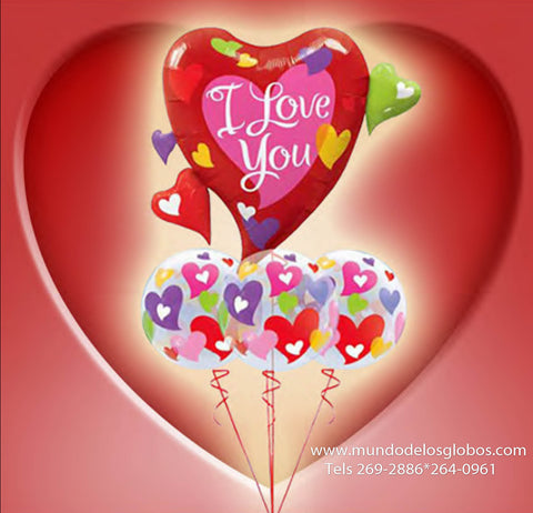 Bouquet de Corazon Gigante I Love You con tres Burbujas de Corazones de Colores