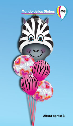 Bouquet de Zebra grande con burbujas LOVE YOU y globos estampados