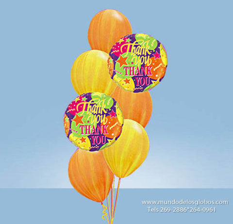Bouquet Thank You con Globos de Colores Tie Dye