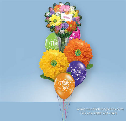 Bouquet Thank You con Globo de Ramos de Flores, Globos de Flores y Globos Thank You de Colores