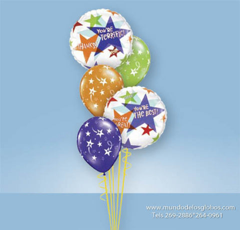 Bouquet Thanks, You are Great! You are Terrific! You are the Best! con Globos con Estrellas de Colores