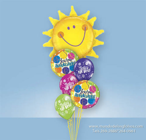 Bouquet con Girasol Gigante con Globos You are Appreciated y Globos de Colores You are the Best!