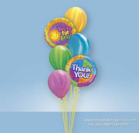 Bouquet Thank You, You are the Best! con Globos de Colores Tie Dye