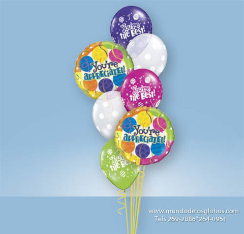 Bouquet Thank You con Globos You are Appreciated y You are the Best!, Globos de Bolas Blancas