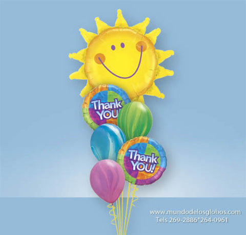Bouquet con Girasol Gigante con Globos Thank You y Globos de Colores Tie Dye