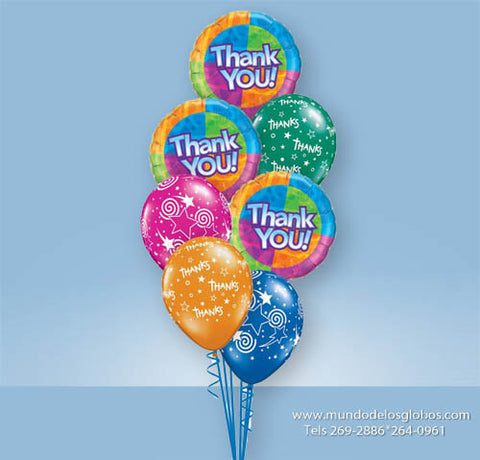 Bouquet Thank You con Globos de Colores Thanks con Estrellas