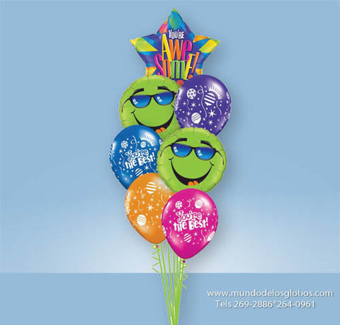 Bouquet con Estrella You are Awesome! con Caritas Felices y Globos de Colores You are the Best!