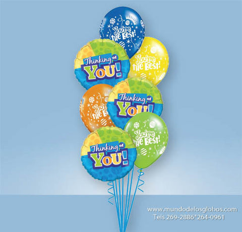 Bouquet Thinking of You con Globos de Colores You are the Best!
