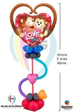 "Adorno de Escritorio: Corazón Gigante ""Happy Love Day"" con base de globos látex"