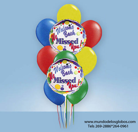 Bouquet de Globos Welcome Back We Missed You! con Globos de Colores