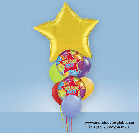 Bouquet Welcome Back con Estrella Gigante y Globos de Colores