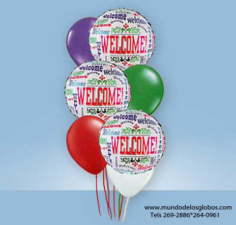 Bouquet Welcome! con Globos de Colores