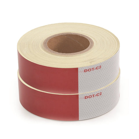 2 x Rolls 150ft Red/White Conspicuity Reflective Tape Dot Class 2 Trucks Trailer