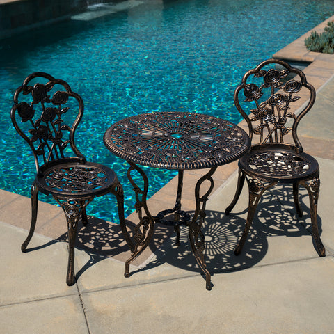 3pcs Patio Furniture Cast Aluminum Bistro Set Table & Chair Outdoor Antique NEW