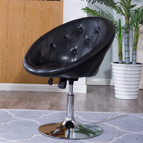 Contemporary Round Tufted Back Tilt Swivel Chair with Chrome Base (Black/White)