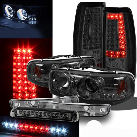For 99-03 Sierra Smoked Pro Headlights Bumper + V2 LED Tail Lights + 3rd Brake