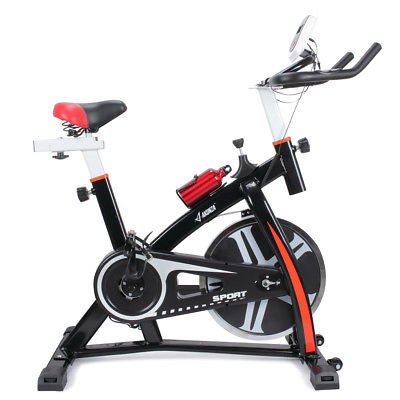 Pro Indoor Exercise Bike 40 lb Flywheel LCD Cycle Cardio Fitness + Bottle, Black