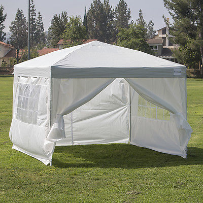 10'x10' Easy Pop Up Outdoor Wedding Heavy Duty Silver/ White Tent with 4 Walls
