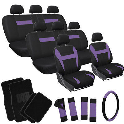 Car Accessories 25pc Complete Set Purple Black SUV Seat Covers Wheel + Belt Pad + Floor Mat 3A