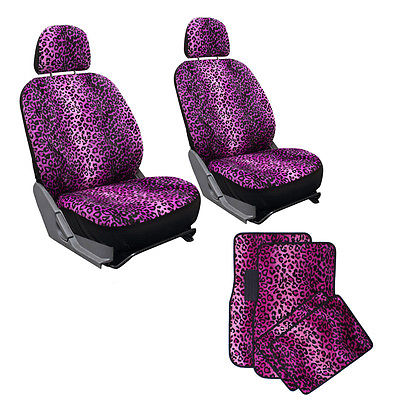 Car Accessories 10pc Violet Pink Leopard Print Car Bucket Seat Covers Floor Mats 1B