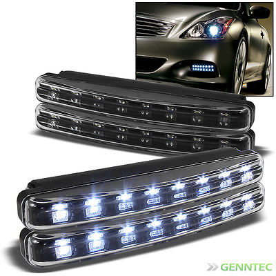 4X JDM Black Hyper White 8 Leds Daytime Drl Bumper Lights / Fog Lights Set New