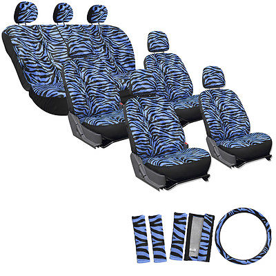 Car Accessories 23pc Blue Zebra Tiger Animal Complete Van Seat Covers Full Set + Head Rest 4A