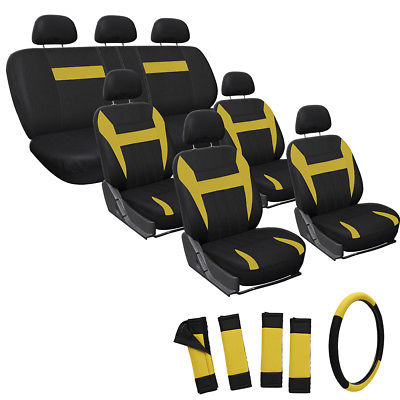 Car Accessories 24pc Full Set Yellow Seat Cover Steering Wheel Belt Pad