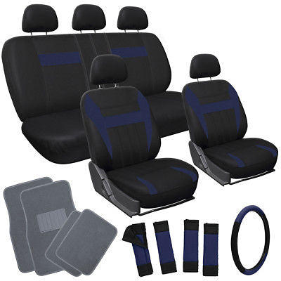 Car Accessories 20pc Set Blue Black VAN Seat Cover Wheel + Head Rests + gray Floor Mats 4E