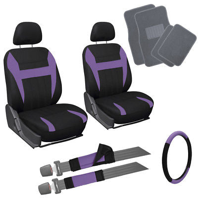 Car Accessories 13pc Purple Black Front Bucket SUV Seat Covers Wheel Cover + Gray Floor Mats 1B
