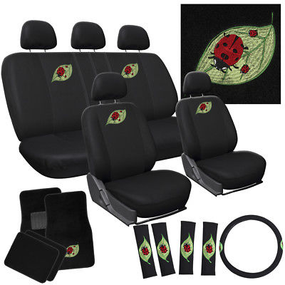 Car Accessories 21pc Beetle Lady Bug Bucket Low Back Front Rear SET Seat Cover + Mats SUV A2