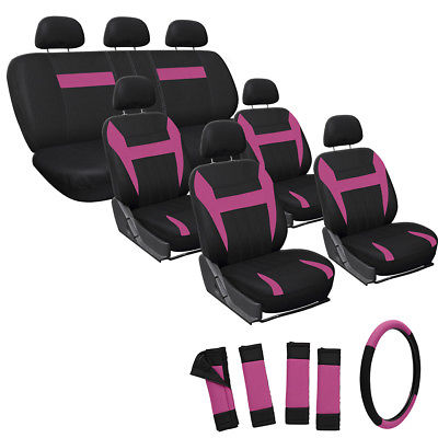 Car Accessories 23pc Full Set Pink Seat Covers Steering Wheel Belt Pads