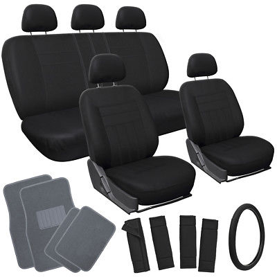 Car Accessories 21pc Set All Black VAN Seat Cover Steering Wheel + Belt Pad + Gray Floor Mats