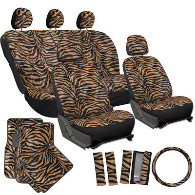Car Accessories 21pc Orange Zebra Car Seat Covers Full Set + Floor Mats Wheel Belt Pad Head Rest