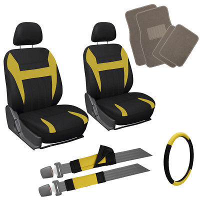 Car Accessories 13pc Yellow Black Front Bucket SUV Seat Covers Set Wheel Belt Tan Floor Mats 3E