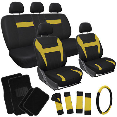 Car Accessories 20pc Set Yellow Black SUV Seat Covers Wheel + Pads + Head Rests + Floor Mats 3D