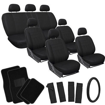 Car Accessories 26pc Complete Solid All Black SUV Auto Seat Cover Set Wheel + Belt + Floor Mats
