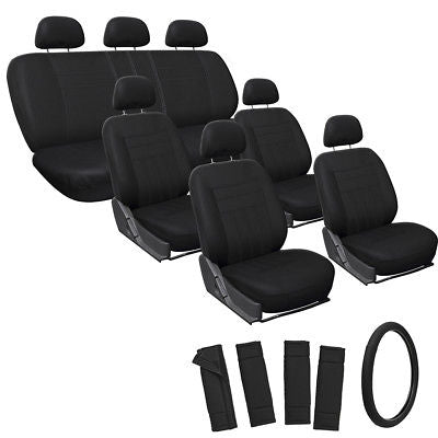 Car Accessories 23pc Full Set Solid Black SUV Seat Covers w/Steering Wheel-Belt Pad-Head Rests