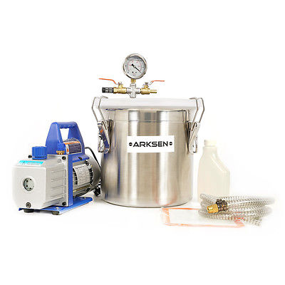 3 Gallon Vacuum Chamber w/ 4 CFM 2 Stage Pump Kit Extracts Resins Mold Epoxy Oil