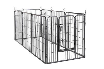 Heavy Duty Pet Playpen Dog Exercise Pen Cat Fence Metal cage (8) Panel -Black