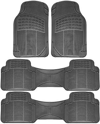 Car Accessories 4pc Set All Weather Heavy Duty Rubber SUV Gray Floor Mat Front & Rear Liners 3C